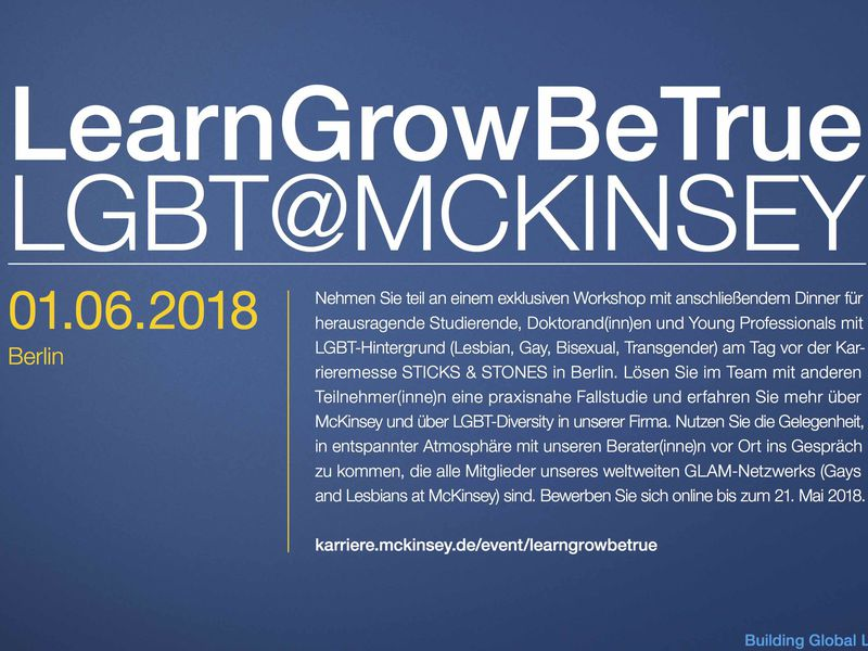 "Workshop ""LearnGrowBeTrue – LGBT@McKinsey"""