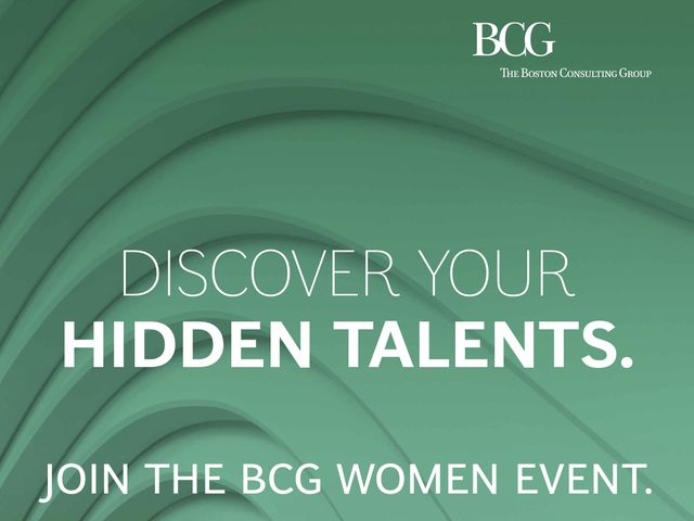 Discover your hidden talents. Join the BCG women event